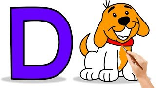 How to Draw Dog for Kids |Drawings and Coloring Book for Kids | learn alphabets for kids | D for Dog