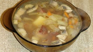 Суп грибной с копчёными рёбрами.
