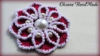 Цветок крючком с бусинами. Мастер класс. Flower with beads DIY