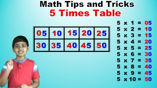 Learn 5 Times Multiplication Table | Easy and fast way to learn | Math Tips and Tricks
