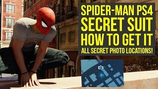 Spider Man PS4 Suits - ALL SECRET PHOTO LOCATIONS To Get Secret Esu Suit (Spiderman PS4 Suits)