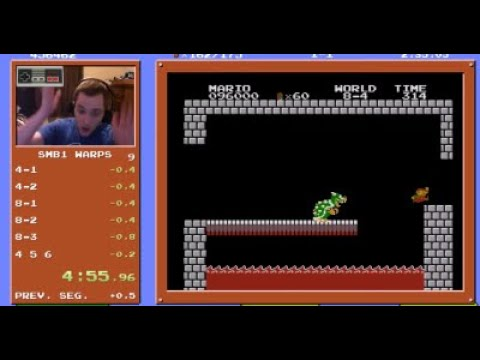 A speedrunner by the name of Kosmic just became the first person to beat Super Mario Bros. in 4 minutes and 55 seconds. Literally less than one second away from a perfect run!