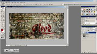 Photoshop Tutorial - Graffiti Blood Font Type On Wall