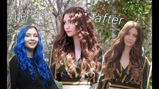 Dying My Hair Blue To Brunette | Removing Blue Dye