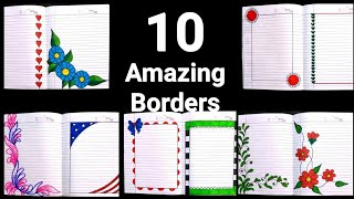 10 Beautiful Border Designs For Projects Handmade| Simple Border Designs| Notebook Border Designs|