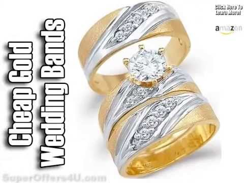 His And Hers Wedding Band Sets - Matching Wedding Bands - Plain Gold Wedding Bands