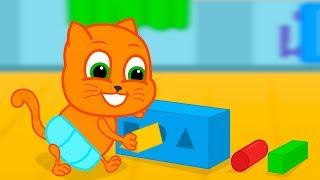 Familia de Gatos - Gatos Jugando con Figuras y Música Dibujos animados para niños