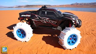 Can This RC Car with DIY CUSTOM Tires Drive On Water?!
