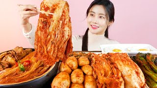MUKBANG ASMR   Amazing! Braised Pork Kimchi🌶KimchiJjim 3 Kind of Kimchi Eat Korean Eatingshow 아라 Ara