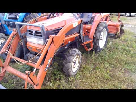 japanese tractor Kubota GL220, front loader, test, working, проверяем все!
