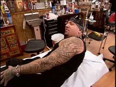 Miami Ink - Biohazard Flaming Skull Tattoo. Evan Seinfeld of Biohazard gets