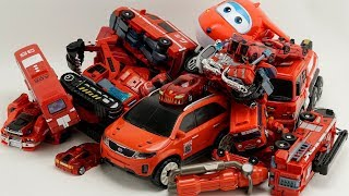 HelloCarbot Red Car Robot Transformers Tobot, Excavator, truck, cranes, boat #трансформеры Cars Toys