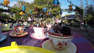 [4K] Mad Tea Party : 2014 POV   Disneyland Resort, California
