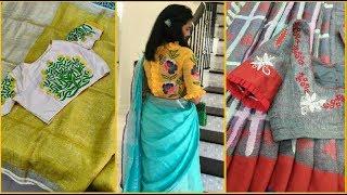 Linen Saree With Designer Blouse Designs