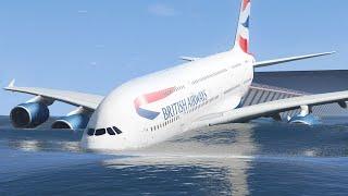 Realistic Airbus A380 Runway Overrun Emergency Landing - GTA 5