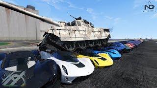 GTA 5 - Thử dùng xe tăng cán qua 100 siêu xe   ND Gaming