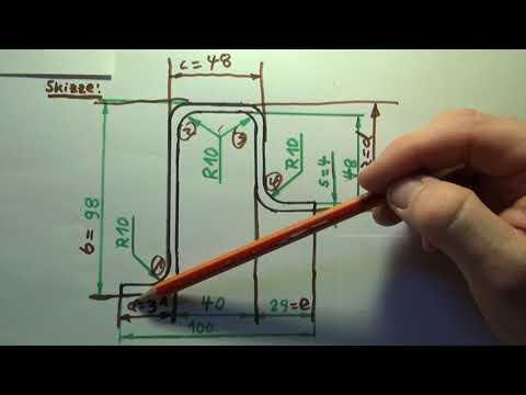 Zuschnittberechnung (=gestreckte Länge) für 90°-Biegeteile mit Tabellenbuch