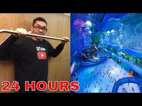 24 HOUR OVERNIGHT CHALLENGE ⏰ IN A INDOOR WATER PARK RESORT!!!