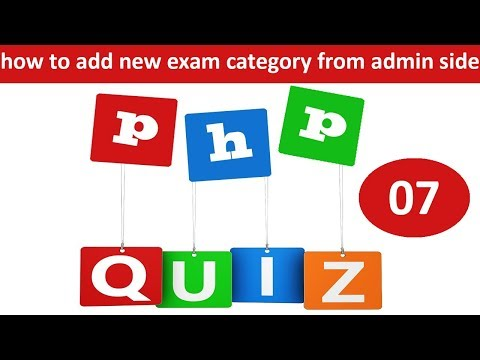 how to add new exam category from admin side in php online quiz