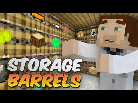 Storage Barrels in Minecraft - Barrels Mod Showcase - Works w/ Redpower 2 & Buildcraft!