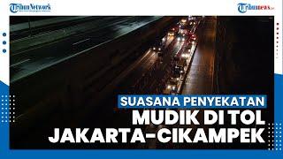 Pantauan Via Drone Penyekatan Mudik di Tol Jakarta-Cikampek