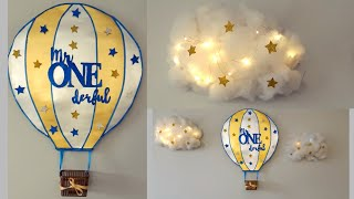 Baby Boy First Birthday Decorations | DIY Air Balloon And Cotton Clouds Backdrop