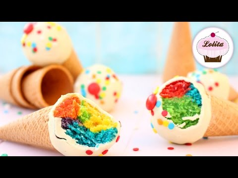 Receta de cake pops en forma de helado | Cake pops sin molde fáciles | Sin horno