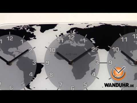 Nextime Wanduhr Mondial - Weltzeituhr aus Glas