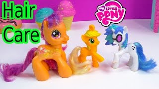 MLP Collection Hair Care Tips On Mcdonald's My Little Pony AppleJack DJ Pon 3 Scootaloo Toys