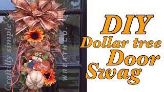 DIY Dollar Tree Door Swag Fall Wreath | Fall Crafts