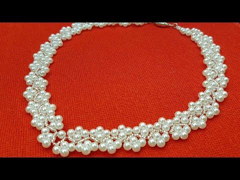 Жемчужное колье/Pearl necklace/Колье из бисера и бусин/Колье своими руками/Колье из бусин и бисера