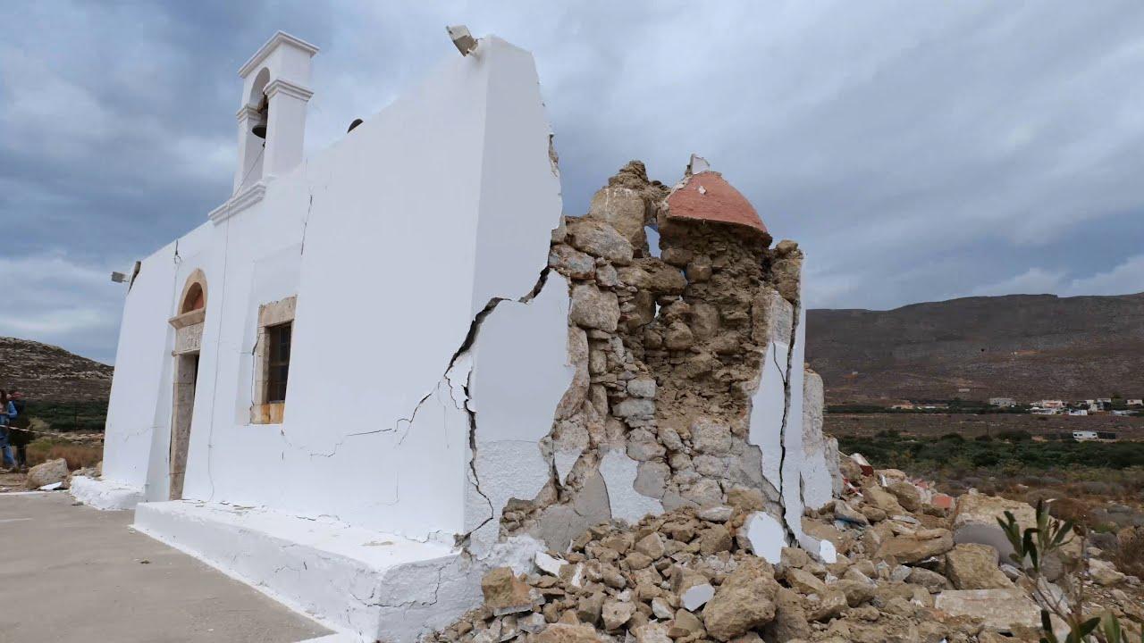 Κατάρευση μικρού ναού από τον σεισμό των 6,3 Ρίχτερ στην Κρήτη