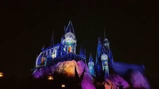 Watch the Magnificent Hogwarts Castle Winter Magic Light Show at Universal Studios Japan