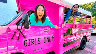 We Built A MOBILE Girls Lounge in a SCHOOL BUS!!