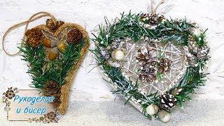 Новогодний декор. Зимнее панно и ёлочная игрушка из шпагата.