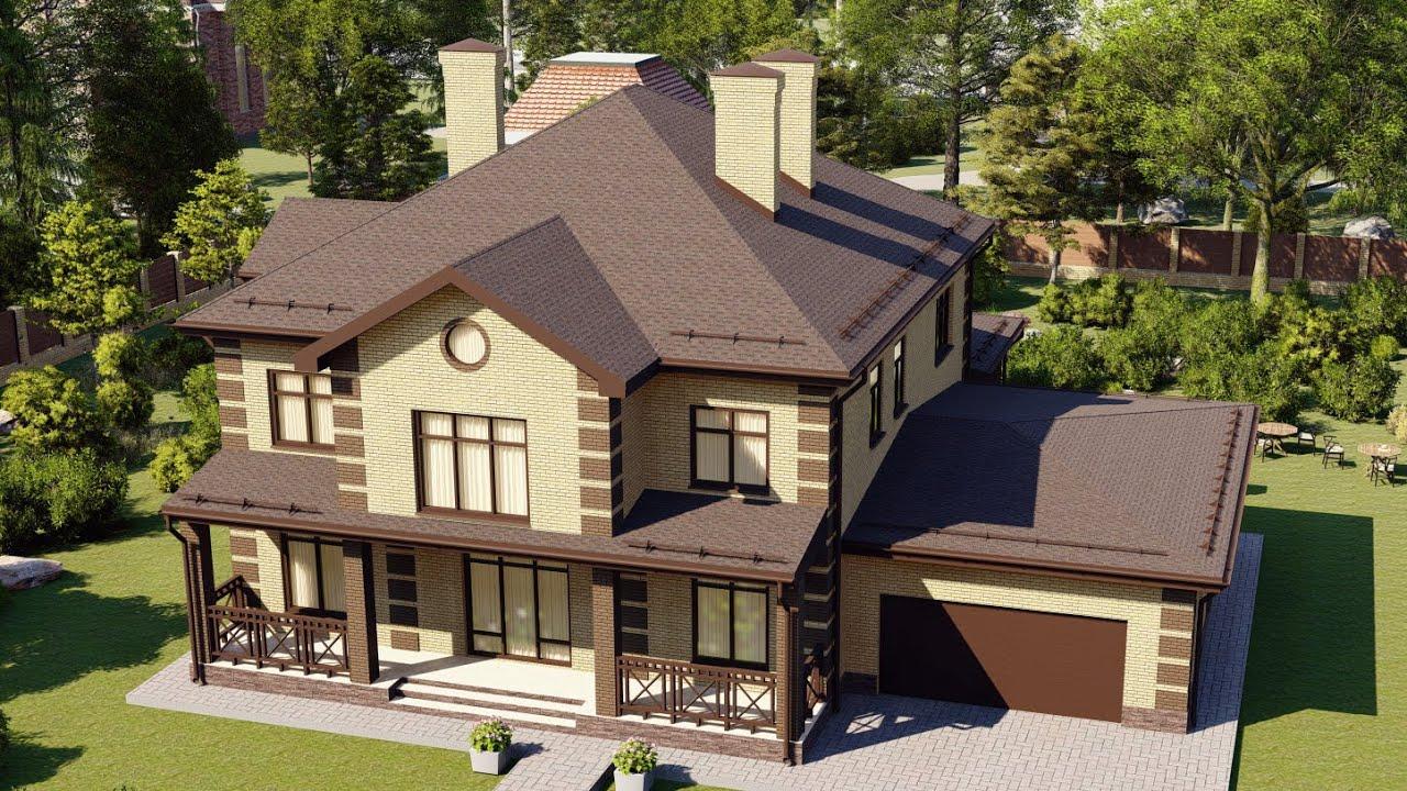 Проект большого двухэтажного дома из газобетона с гаражом