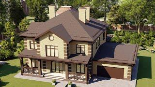 Проект дома 340-A, Площадь дома: 340 м2, Размер дома:  20,5x15,6 м