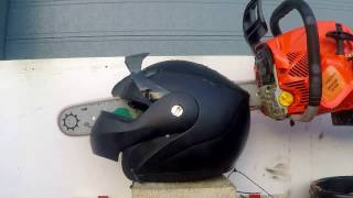 Chainsaw Vs Motorcycle helmet. Cutting motorbike helmet with chainsaw. Forget Hot Knives!