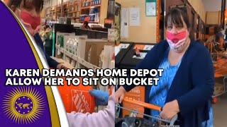 Karen Attempts To Struggle With Home Depot Worker Over Bucket She Didn't Pay For