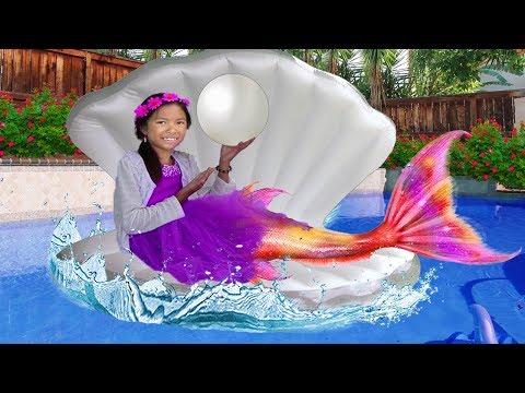Wendy Pretend Play as Princess Ariel Mermaid Swimming Kids Birthday Pool Party