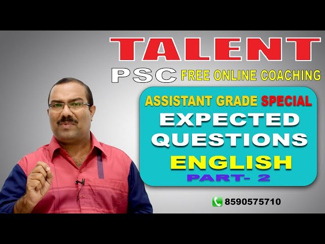PSC | Assistant Grade Special | EXPECTED QUESTIONS- English Part 2