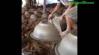 Making bonsai pot - Bước cuối hoàn thiện chậu - Quay miệng chậu