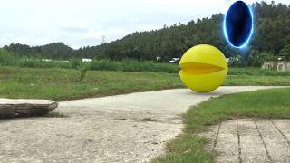 Pacman in Real Life (pacman game) LITTLE DUDE ATTACKED BY PAC-MAN