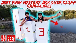 DONT Push The Wrong MYSTERY BOX OFF THE 50 FOOT CLIFF CHALLENGE! *HAUNTED QUARRY* | MOE SARGI