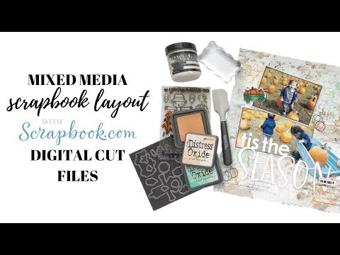 Fall Themed Mixed Media Scrapbook Layout Using Cut Files from Scrapbook com