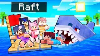 5 KIDS On A RAFT In Minecraft!