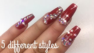 How To Apply Swarovski Crystals To Nails   5 Different Designs