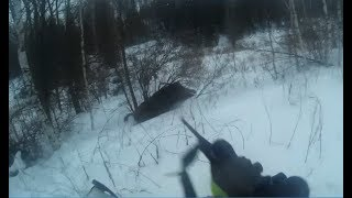 Охота на кабана.Кабан напал на охотника