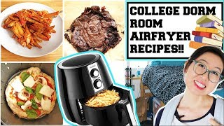 COLLEGE DORM ROOM AIR FRYER RECIPES!! -  PIZZA, NACHO FRIES, BROWNIES!! (VEGAN)
