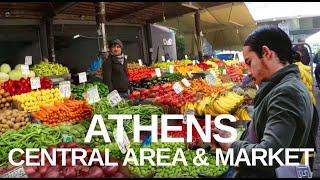 [4K] Central Markets On Athinas St (2020) Varvakois Agora, Athens Greece